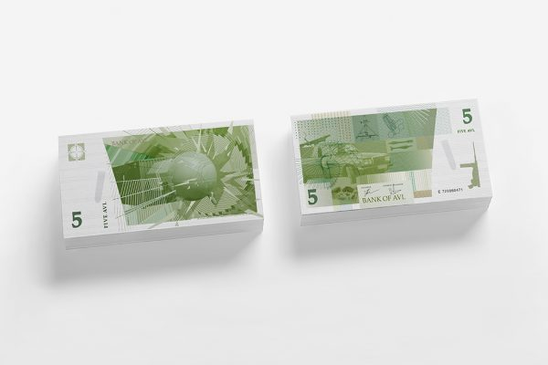 5, 10, 25 and 100 AVL-Banknotes
